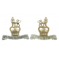 Pair of 15th/19th Hussars Anodised (Staybrite) Collar Badges