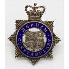 Durham Constabulary Senior Officer's Silvered & Enamel Cap Badge - Queen's Crown