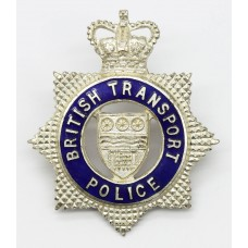 British Transport Police Senior Officer's Silvered & Enamel Cap Badge - Queen's Crown