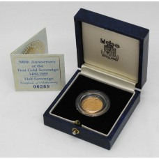 Royal Mint 1989 United Kingdom 22ct Gold Half Sovereign Coin - 500th Anniversary of the First Gold Sovreign 1489-1989