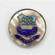 Royal Navy HMS Victory Mother of Pearl & Silver Rimmed Sweetheart Brooch.