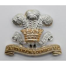 Caernarvon & Denbigh Yeomanry Anodised (Staybrite) Cap Badge