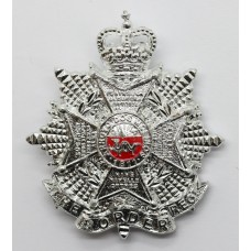 Border Regiment Anodised (Staybrite) Cap Badge - Queen's Crown