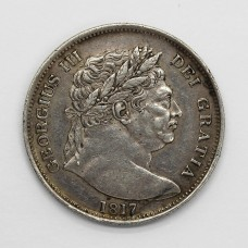 1817 George III Milled Silver 'Bull Head' Half Crown Coin