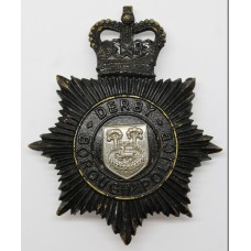 Derby Borough Police Night Helmet Plate - Queen's Crown