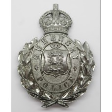 Guernsey Police Wreath Helmet Plate - King's Crown