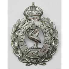 Liverpool City Police Wreath Helmet Plate - King's Crown