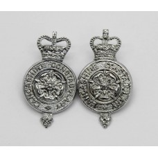 Pair of Lancashire Constabulary Collar Badges - Queens Crown