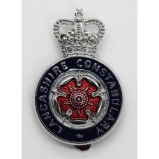 Lancashire Constabulary Enamelled Cap Badge - Queens Crown