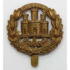 Northamptonshire Regiment WWI All Brass Economy Cap Badge