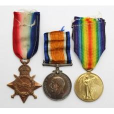 WW1 1914-15 Star Medal Trio - A.Cpl. W.F.N. Johnson, Royal Field Artillery - Wounded