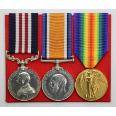 WW1 Military Medal, British War & Victory Medal Group of Three - Pte. A.G. Hunter, 18th Bn. Machine Gun Corps - Wounded