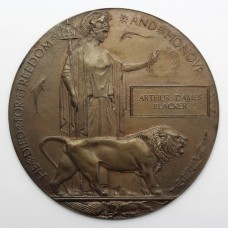 WW1 Memorial Plaque (Death Penny) - Private Arthur Dames Blacker, 14th (2nd Barnsley Pals) Bn. York & Lancaster Regiment - Died of Wounds