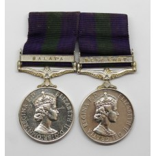 General Service Medal (Clasp - Malaya) and General Service Medal (Clasp - Near East) Double Issue Medal Pair - Pte. J. Smith, West Yorkshire Regiment