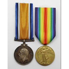 WW1 British War & Victory Medal Pair - Pte. F. Wedge, 1/5th Bn. Notts & Derby Regiment (Sherwood Foresters) - Died of Wounds