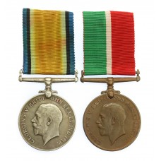 WW1 Mercantile Marine Medal Pair - Albert H. Rowe