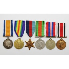 WW1 British War & Victory Medal, WW2 and Special Constabulary Long Service Medal Group of Six - Cpl. F. Moore, Machine Gun Corps