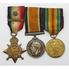 WW1 1914 Mons Star & Bar, British War & Victory Medal Tri