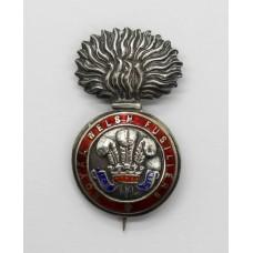 Royal Welsh Fusiliers Sterling Silver & Enamel Sweetheart Brooch