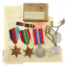 WW2 Pacific Star Medal Group of Three with Dog Tags, Box of Issue & Slips - LAC E. Davenport, Royal Air Force