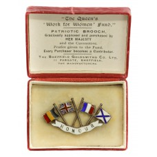 WWI The Queen's 'Work for Women' Fund 1914 Hallmarked Silver Belgium, Britain, France & Russia Patriotic Flag Sweetheart Brooch
