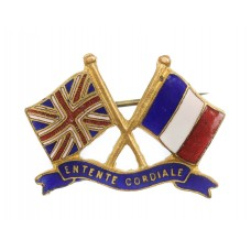 WWI Britain & France 'Entente Cordiale' United Allies Patriotic Flag Sweetheart Brooch