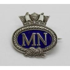 Merchant Navy Sterling Silver & Enamel Sweetheart Brooch