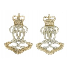 Pair of Queen's Own Hussars Anodised (Staybrite) Collar Badges