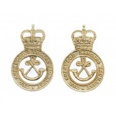 Pair of Sherwood Rangers Yeomanry Anodised (Staybrite) Collar Badges