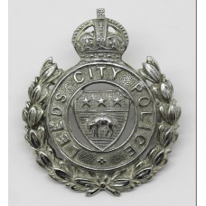 Leeds City Police Wreath Cap Badge - King's Crown