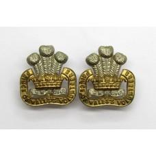 Pair of South Lancashire Regiment (Prince of Wales's Vols) Collar Badges