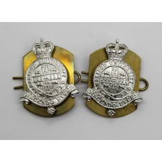 Pair of Cambridge University O.T.C. Anodised (Staybrite) Collar Badges - Queen's Crown