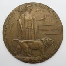 WW1 Memorial Plaque (Death Penny) - William Colley