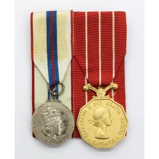 1977 Elizabeth II Silver Jubilee Medal (Canada) and Canadian Forces Decoration Medal Pair - Capt. T.V. Smallman