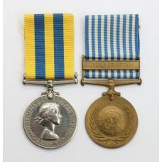 Queen's Korea and UN Korea Casualty Medal Pair - Gnr. M. Banbury, Royal Artillery - Died of Wounds