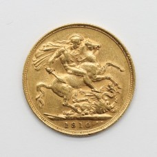 1910 M Edward VII 22ct Gold Full Sovereign Coin (Melbourne Mint)