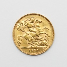 1911 George V 22ct Gold Half Sovereign Coin