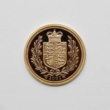 2002 Elizabeth II 22ct Gold Shield Back Half Sovereign Coin