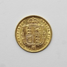 1887 Victoria 22ct Gold Shield Back Half Sovereign Coin