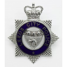 Leeds City Police Senior Officer's Enamelled Cap Badge - Queen's