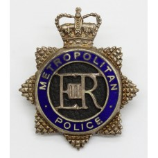 Metropolitan Police Senior Officer's Silvered & Enamel Cap Badge - Queen's Crown
