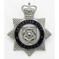 Leicester City Police Senior Officer's Enamelled Cap Badge - Queen's Crown