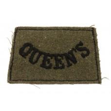Queen's Royal West Surrey Regiment (Queen's) WW2 Cloth Slip On Shoulder Title