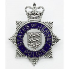 States of Jersey Police Senior Officer's Enamelled Cap Badge - Queen's Crown
