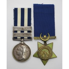 Egypt Medal (Clasps - Suakin 1885, Tofrek) and 1882 Khedives Star - Pte. J. Devine, 1st Bn. Royal Berkshire Regiment