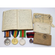 WW1 British War Medal, Victory Medal & WW2 Defence Medal Group with Diary and Boxes of Issue - Gnr. D.C.E. Cooke, 'A' Bty. H.A.C. (Artillery)