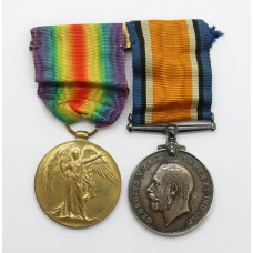 WW1 British War & Victory Medal Pair - Pte. H. Outram, Machine Gun Corps - Prisoner of War