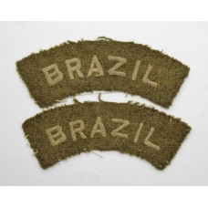Pair of Brazil Nationality (BRAZIL) Cloth Shoulder Titles (Khaki)