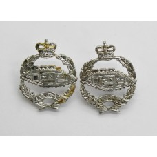 Pair of Royal Tank Regiment Anodised (Staybrite) Collar Badges - Queen's Crown