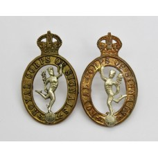 Pair of Royal Corps of Signals Collar Badges - King's Crown
